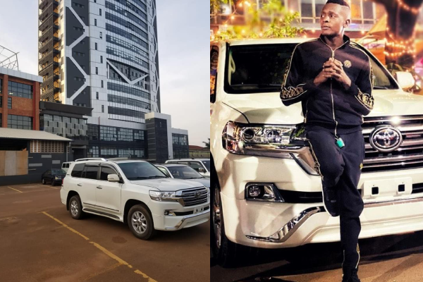 Jose Chameleone Standing in front of his V8 Land Cruiser that URA Towed in April