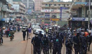Field Force Unit -FFU commanded by ASP Benson Oboro patrolling Kisekka Road