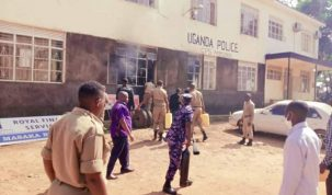 A boda boda rider self himself on fire at Masaka police station