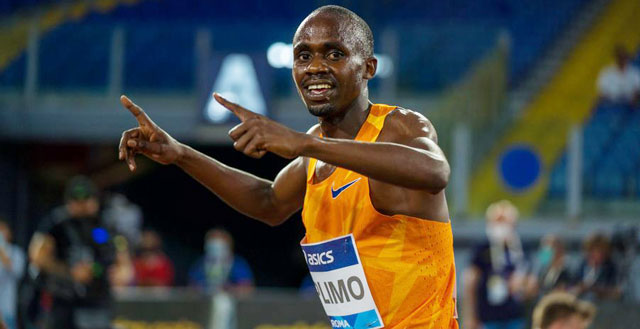 Kiplimo celebrates his second European race in a fortnight since his come back. PHOTO IAAF MEDIA